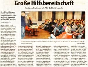 Große Hilfsbereitschaft - Caritas sucht Ehrenamtler für die Flüchtlingshilfe (Stadtanzeiger 7.10.15, Autor Lutz Jansen, Foto Ralf Beyer)
