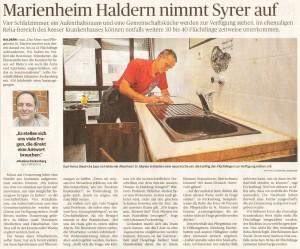 Marienheim Haldern nimmt Syrer auf (RP 24.10.15, Autor rau, Foto Thorsten Lindekamp)