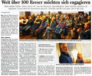 Weit über 100 Reeser möchten sich engagieren (NRZ 3.10.15, Autorin Elisabeth Hanf, Fotos Torsten Lindekamp)
