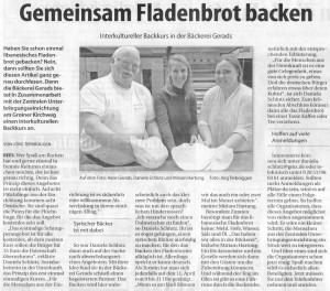 Gemeinsam Fladenbrot backen (Stadtanzeiger Emmerich-Rees, 26.3.2016, Autor + Foto Jörg Terbrüggen)